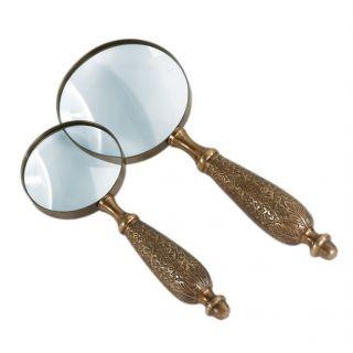 Sadek 8 Antique Brass Hand Held Magnifying Glass Acorn Tip 15470 NIB