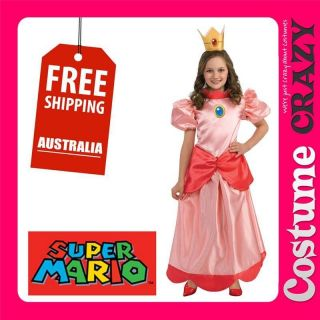 LICENSED SUPER MARIO BROS CHILD GIRLS KIDS PRINCESS PEACH FANCY DRESS