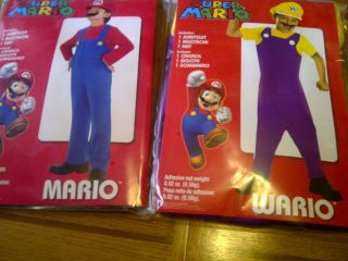 NEW BOYS SUPER MARIO BROS HALLOWEEN COSTUME MARIO OR WARIO S M L OR XL