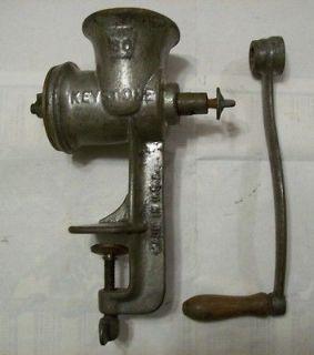 Vintage Keystone 30 Meat Grinder Hand Crank Table Mount Cast Iron Wood