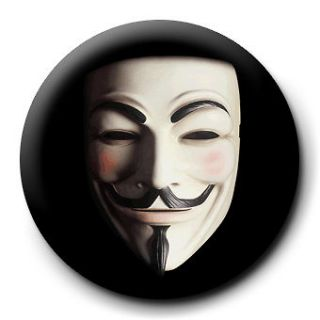 For Vendetta Mask 25mm Badge Button Pin Guy Fawkes
