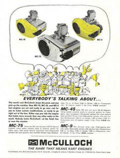 Vintage 1964 McCulloch MC 9, MC 45 & MC 75 Go Kart Ad