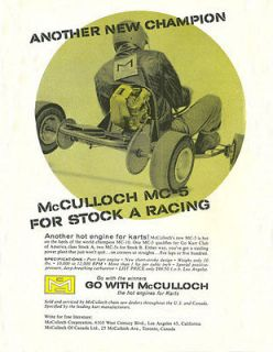 & Rare 1960 McCulloch MC 5 for Stock A Racing Go Kart Engine Ad
