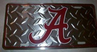 Alabama Crimson Tide Aluminum Embossed License Plate Diamond Plate Tag