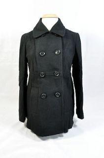 Amazing NEW $135 Motherhood Maternity Black Wool Pea Coat Jacket   S