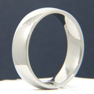 Mens Stainless Steel White Gold Plated Wedding Anniversary Band Ring