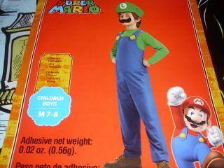 Luigi Super Mario Halloween Costume Boys Nintendo Wii Mustache New