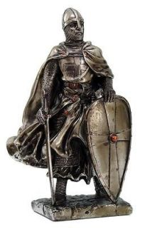 MEDIEVAL KNIGHT 7 TALL CRUSADER TEMPLAR GUARD STATUE FIGURINE SUIT OF