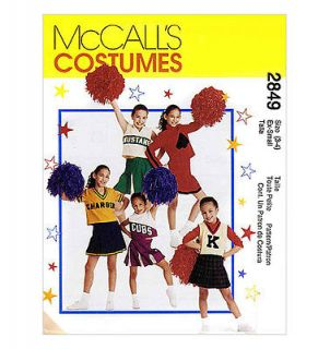 McCall's 2849 Girls Cheerleader Outfits Sewing Pattern Sz 8 10 or 12