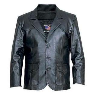Allstate Mens 3 Button Black Lamb Skin Leather Blazer Jacket