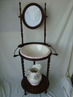 ANTIQUE WOODEN WASH STAND / VANITY POTTERIES NOT INCLUDED