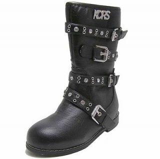 MICHAEL KORS Sz 11 GIRLS Black Leather like Boots Buckle Straps Studs