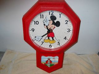 vintage mickey mouse wall clock   school house  works good and looks