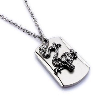 Army Style Cool Silver Dragon Beauty Dog Tag Mens Pendant Necklace