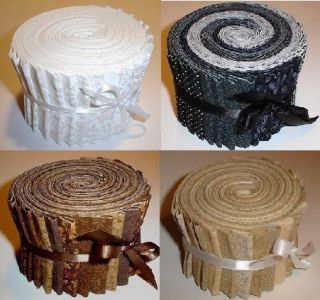 White, Brown, Tan, Black Neutral Fabric Jelly Rolls