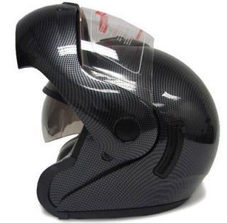 FLIP UP MODULAR FULL FACE MOTORCYCLE HELMET CARBON DUAL SHIELD W/SUN