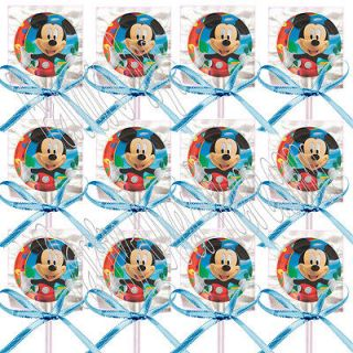 Disney Mickey Mouse NON PERSONALIZED Lollipops w/ Blue Bows Favors  12