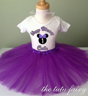 Purple Minnie Mouse Girl Birthday outfit set name age 1st 2 3 4 5 6