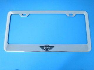 Mini Cooper LOGO mirrored CHROME metal license plate frame