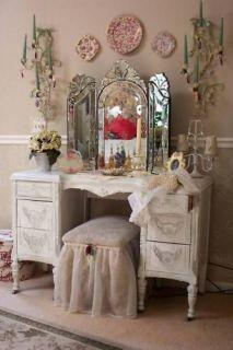 Tri Fold Venetian Glass Vanity Mirror~Tabletop or Wall ~ Tri Fold