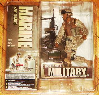 MCFARLANE MILITARY SERIES 2 REDEPLOYED MARINE SAW GUNNER SOLDIER MIB