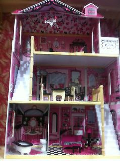 Wooden doll house all furnished 120 cm + 1 free Monster High,Barbie
