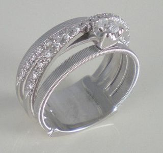 MARCO BICEGO Goa stunning 5 band white gold ring solitaire diamond .2