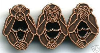 Three Wise Monkeys Pin Badge See Hear Speak No Evil