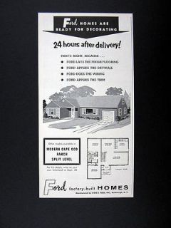 Ford Factory built Homes Pre Fab Prefab House 1959 print Ad