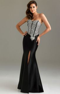 Night Moves by Allure 6419 Black Beaded Prom Dress Evening Gown Size