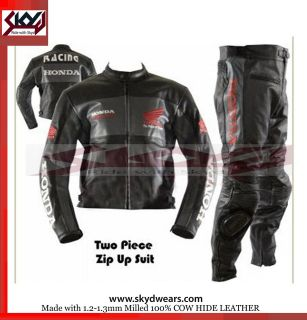 Honda Black Racing Leather Motorcycle full suit and trouser  All Sizes