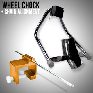 Motorcycle Front 17 Wheel Chock Stand Black & Chain Alignment Tool