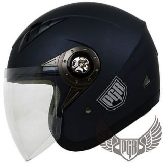 PGR Jet Pilot Matte Grey Motorcycle DOT Helmet Moped Scooter Open Face