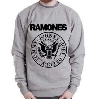 Ramones Logo punk rock band music NYC Grey Heavy Blend Crewneck
