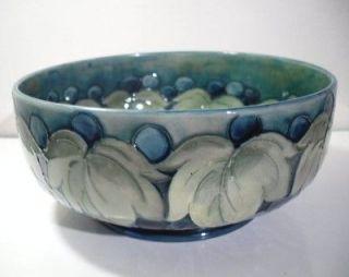 Large W. Moorcroft Leaf & Berry Fruit Bowl  c1925