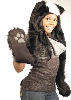 FAUX FUR UNISEX ANIMAL SKUNK HOOD HOODIE HAT WITH EAR FLAPS AND