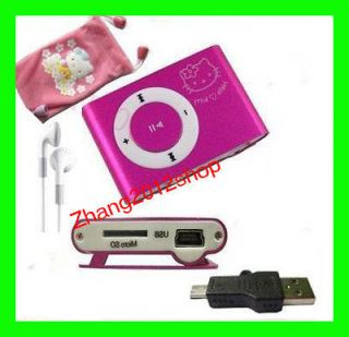 Christmas Gift Hello Kitty Clip Mini MP3 Player Pink Support Micro SD