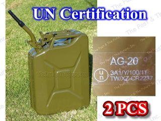 Nato JEEP 5 Gallon Jerry Can 2 Pcs Petrol / Diesel Fuel Gas Tank w