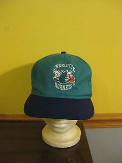 Vintage Charlotte Hornets Hat Green Cloth Under Bill Adjustable