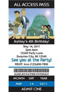 Wild Kratts Ticket Style Birthday Party Invitations with Envelope