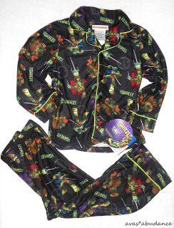 TMNT teenage mutant ninja turtles boys pajama set 4 6 8 10 black pants