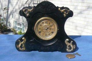 New Haven Black Enamel Music Box Antique Shelf Mantle Clock Raised