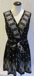 Anna Sui Silk Wrap Black & White Dress sz Small Medium Lovely NEW