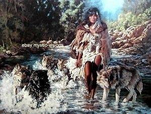 WOLF PEOPLE CROSSING Penni Anne Cross CANVAS Signed Numbered w/coa 27