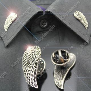 Silver Angel Wing Shirt Collar Neck Tips Brooch Pin Goth Punk Biker