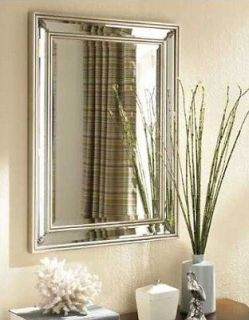 Ancanthus Leaf Rectangle WALL MIRROR Beveled Silver Foyer Bathroom NEW