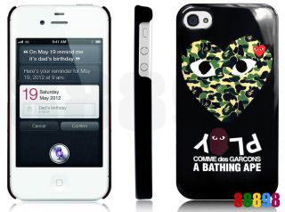 Ape BAPE X COMME des GARCONS PLAY CDG iPhone 4S 4 Hard Case ★【A