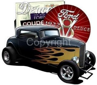 1932 Ford Deuce Hot Rod Coupe Short Sleeve T shirts