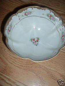 Bone China Hand painted Nippon footed bowl Pink