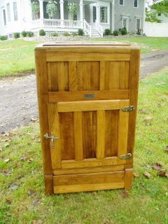 SWEET LARGE ANTIQUE HUDSON OAK ICE BOX READY TO DISPLAY AND ENJOY!!